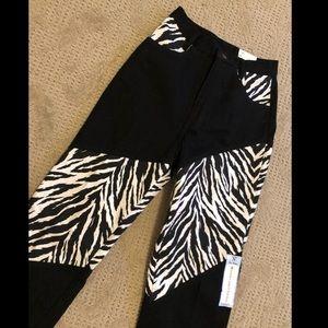 Denim - NWT vintage color block zebra western jeans